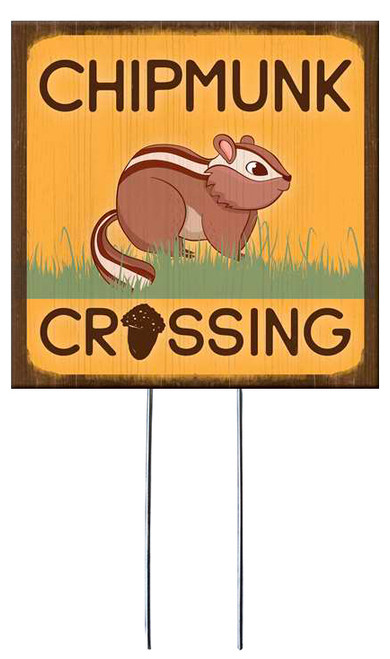 Chipmunk Crossing - Square Outdoor Standing Lawn Sign 8x8