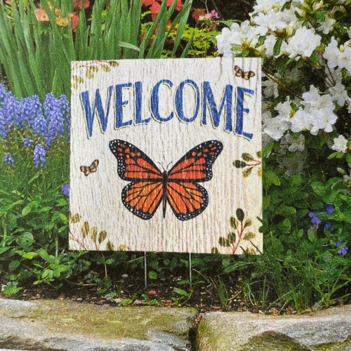 Welcome with Monarch Butterfly - Square Outdoor Standing Lawn Sign 8x8