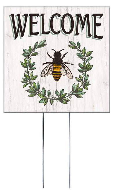 Welcome with Leaves & Bee - Square Outdoor Standing Lawn Sign 8x8