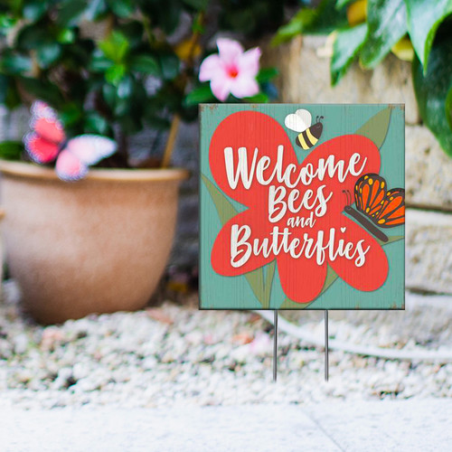 Welcome Bees And Butterflies - Square Outdoor Standing Lawn Sign 8x8