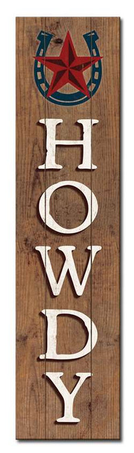 Howdy with Horseshoe - Outdoor Standing Lawn Sign 6x24