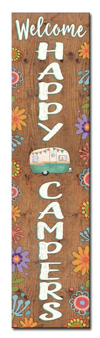 Welcome Happy Campers - Outdoor Standing Lawn Sign 6x24