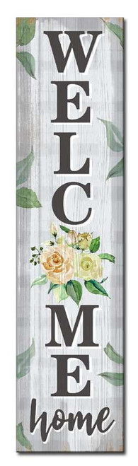 Welcome Home With Flowers - Outdoor Standing Lawn Sign 6x24