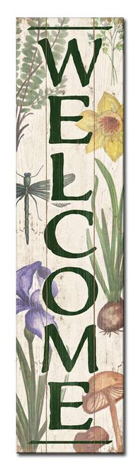 Welcome - Botanical Theme - Features Flowers, Mushroom, Dragonfly and Plants Outdoor Standing Lawn Sign 6x24
