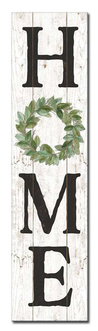 Home with Green Wreath - Outdoor Standing Lawn Sign 6x24