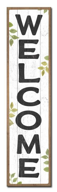 Welcome - White with Green Leaves - Outdoor Standing Lawn Sign 6x24