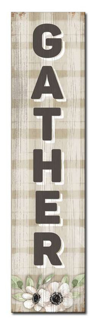 Gather with Flowers - Tan Plaid Style - Outdoor Standing Lawn Sign 6x24