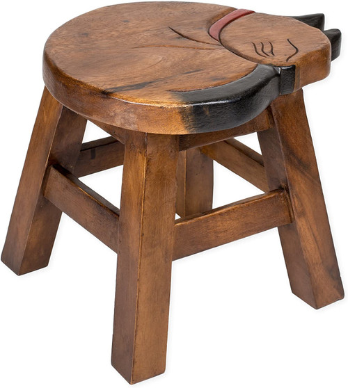 Sleeping Brown Cat Step Stool Hand Carved Solid Acacia Sturdy Wood Stool For Children or Adults 10x10.5x10