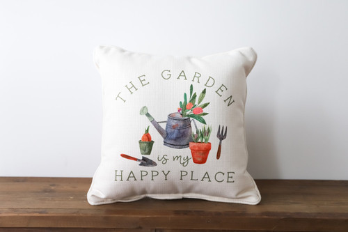 The Garden Is My Happy Place Square Pillow