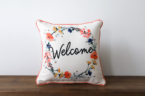 Welcome with Poppy Flower Wreath Square Pillow