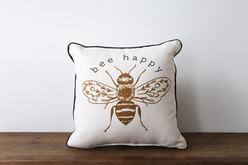 Bee Happy Square Pillow