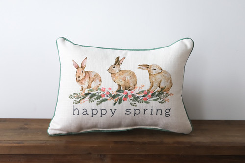Happy Spring with Bunnies Rectangle Pillow