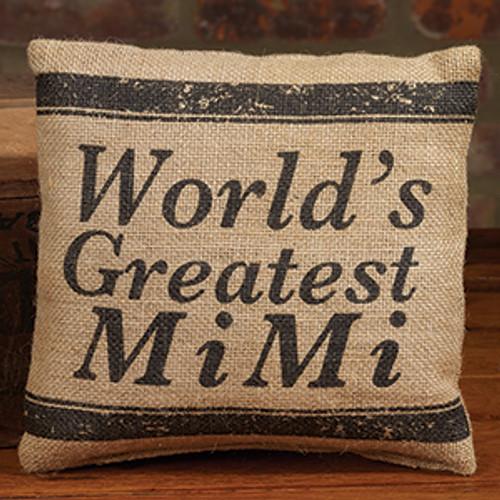 World's Greatest MiMi - Small Burlap Pillow