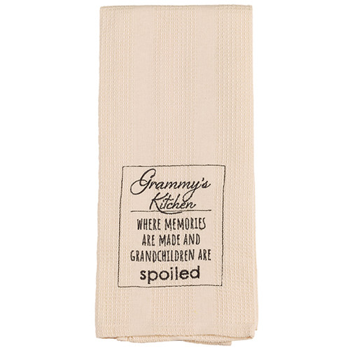 Grammy's Kitchen where memories are made and grandchildren are spoiled dish towel