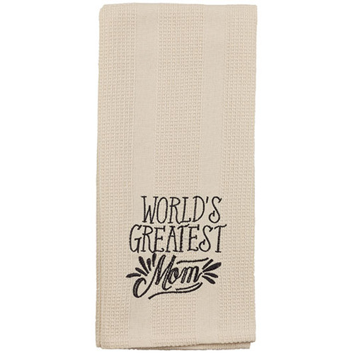 World's Greatest Mom - Embroidered Waffle Weave Dish Towel