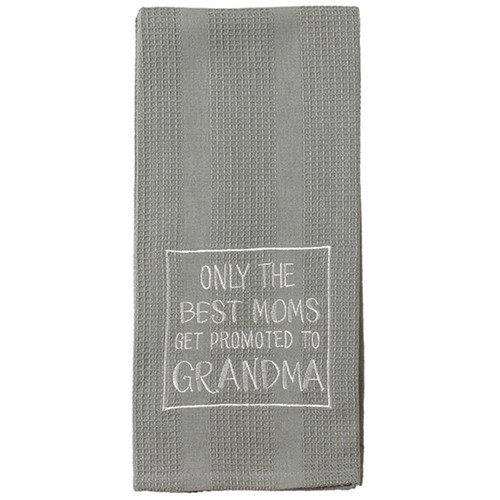 Only The Best Moms Get Promoted To Grandma - Gray Embroidered Waffle Weave Dish Towel