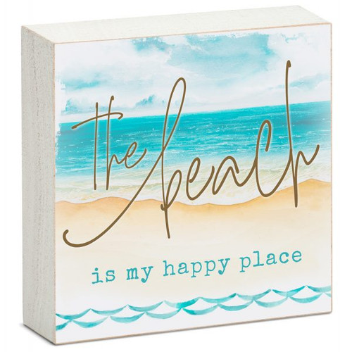The Beach Is My Happy Place - Mini Square Block Sign