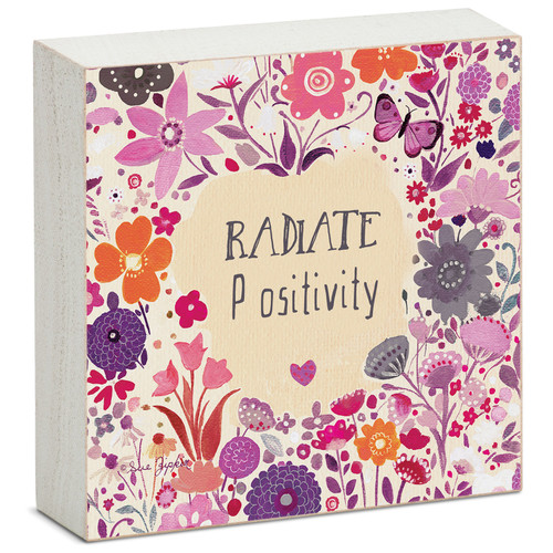 Radiate Positivity - Mini Square Block Sign