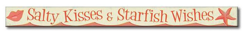 Salty Kisses & Starfish Wishes - Skinny Wood Sign - 16in.