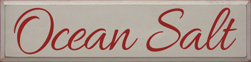9x36 Putty board with Red text  Ocean Salt