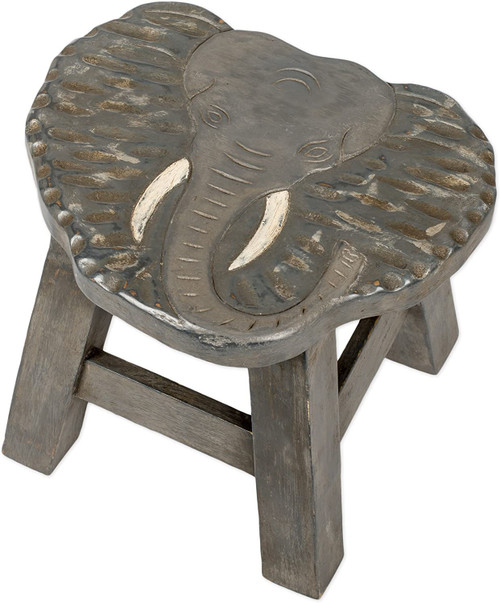 Gray Elephant Step Stool - Hand Carved Solid Acacia Sturdy Wood Stool For Children or Adults