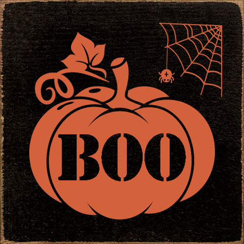 Boo with Pumpkin and Spider Wood Sign 7x7