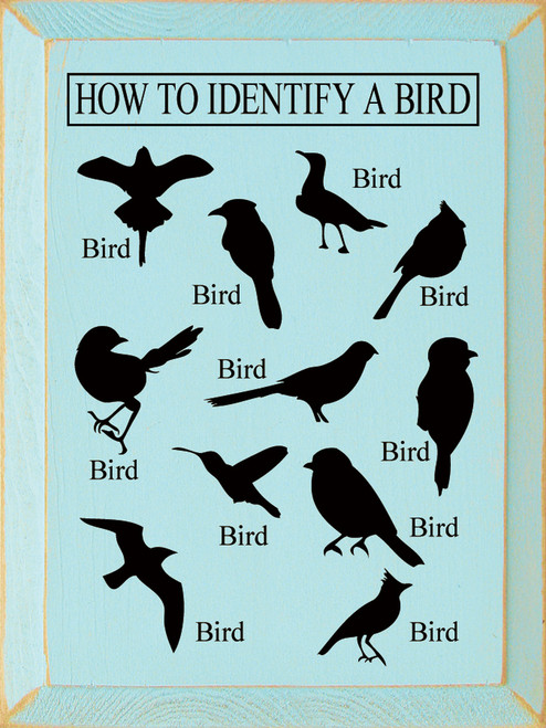 How to Identify a Bird - Wooden Sign