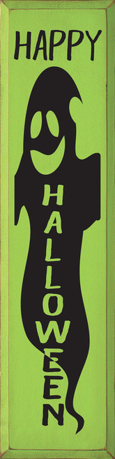 Happy Halloween with Ghost - Large Vertical Wood Sign 9x36