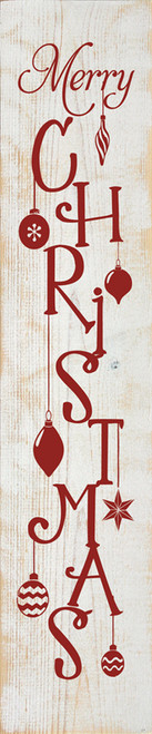 Merry Christmas with Ornaments - Large Vertical Wooden Sign