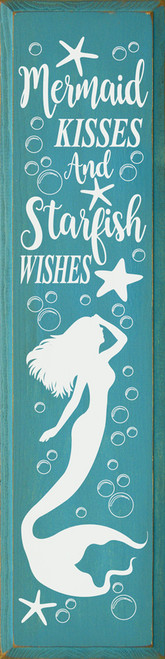 Mermaid Kisses And Starfish Wishes - Large Wood Sign 9x36