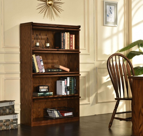 Barrister Bookcase With 4 Sliding Glass Doors Solid Oak 36W x 60H x 13.5D