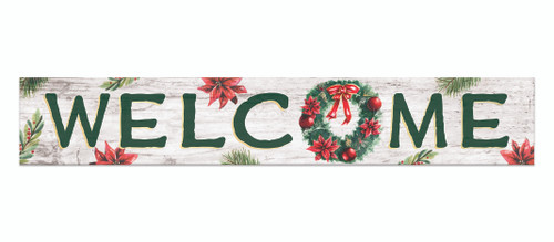 Outdoor Sign - Welcome with Holiday Wreath - 8x47 Horizontal