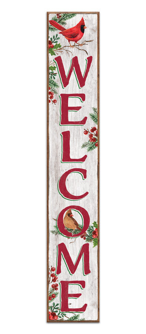 Outdoor Sign - Welcome - Christmas Cardinals - Vertical Porch Sign 8x47