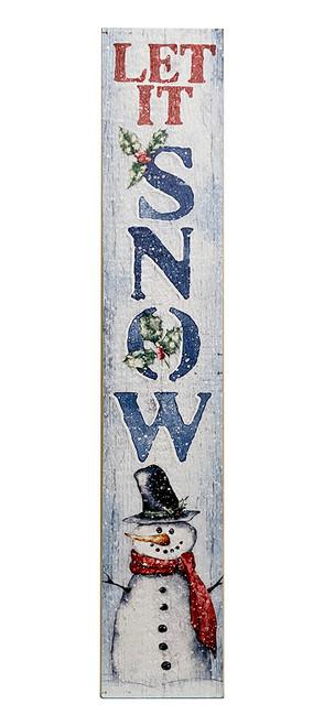 Outdoor Sign - Let It Snow - Snowman 2021 - Vertical Porch Sign 8x47