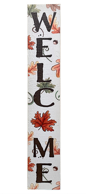 Outdoor Sign - Welcome - Leaves & Acorns - Vertical Porch Sign 8x47