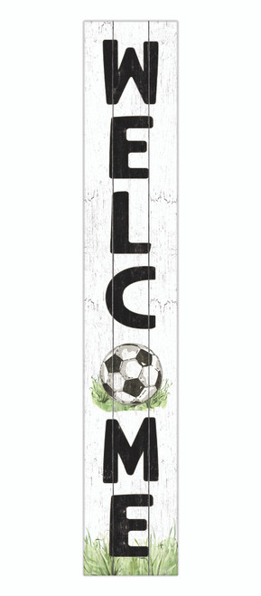 Outdoor Sign - Welcome - Soccer Ball - Vertical Porch Sign 8x47