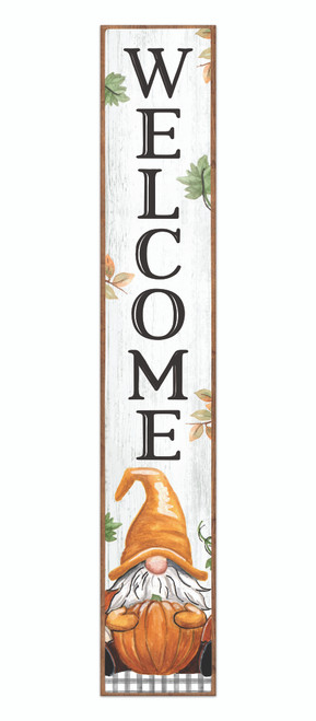 Outdoor Sign - Welcome With Gnome Holding Pumpkin - Vertical Porch Sign 8x47