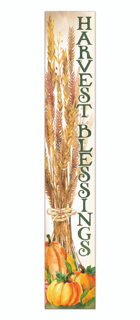 Outdoor Sign - Harvest Blessings With Corn And Pumpkin - Vertical Porch Sign 8x47