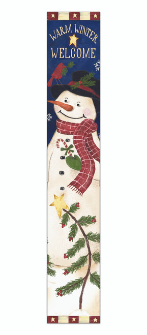 Outdoor Sign - Warm Winter Welcome With Snowman - Vertical Porch Sign 8x47