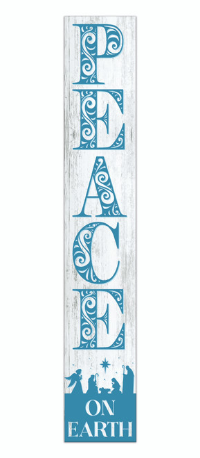 Outdoor Sign - Peace On Earth with Nativity Scene - White and Blue - Vertical Porch Sign 8x47