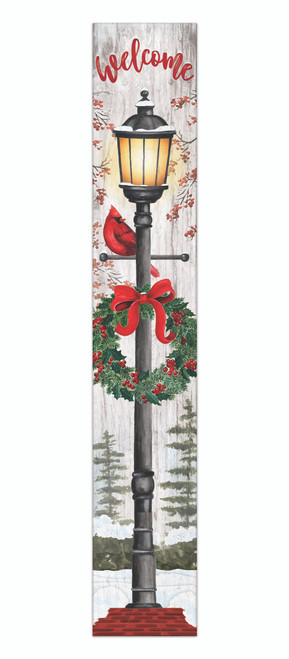 Outdoor Sign - Welcome with Holiday Lantern and Cardinal - Vertical Porch Sign 8x47