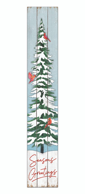 Outdoor Sign - Seasons Greetings with Winter Tree And Cardinals - Vertical Porch Sign 8x47