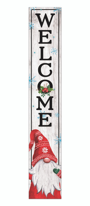 Outdoor Sign - Welcome with Winter Gnome In Red - Vertical Porch Sign 8x47