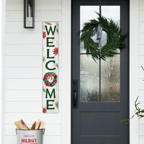 Outdoor Sign - Welcome with Christmas Wreath - Vertical Porch Sign 8x47