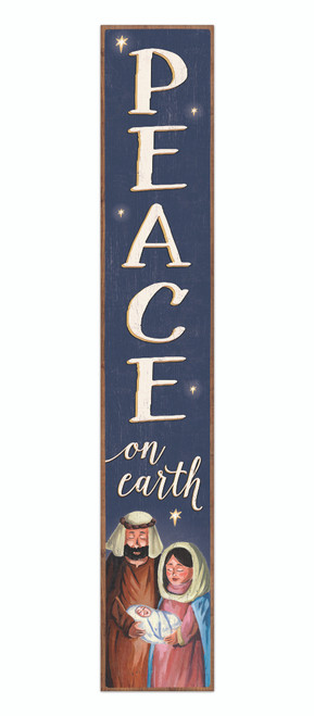 Outdoor Sign - Peace On Earth - Vertical Porch Sign 8x47