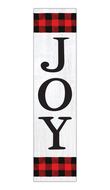 Joy With Buffalo Plaid - Outdoor Standing Lawn Sign 6x24