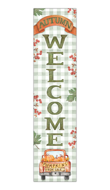 Autumn Welcome - Outdoor Standing Lawn Sign 6x24