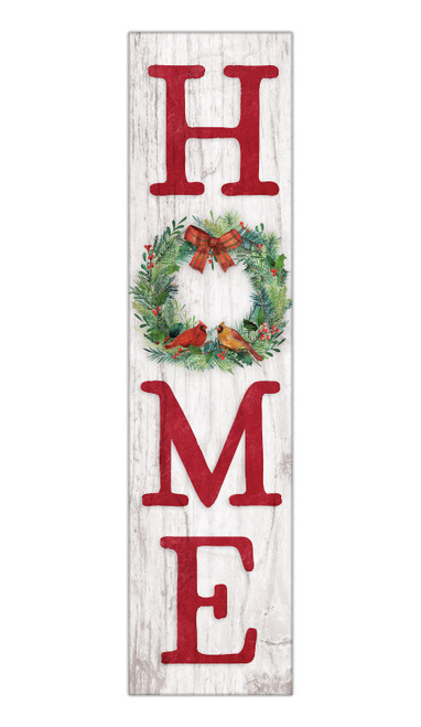 Home With Holiday Wreath - Outdoor Standing Lawn Sign 6x24