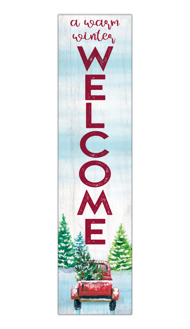 A Warm Winter Welcome - Outdoor Standing Lawn Sign 6x24