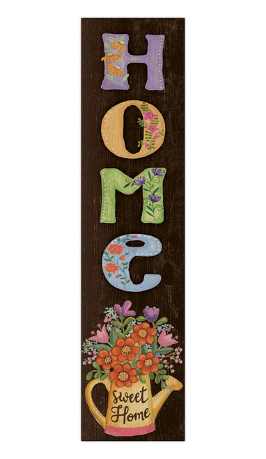 Home Sweet Home With Colorful Flowers - Outdoor Standing Lawn Sign 6x24